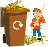 cartoon child raking leaves next to a brown wheelie bin