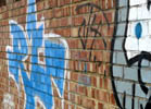 Graffiti on a red  brick wall - blue and white writing and a grey and black cartoon animal face