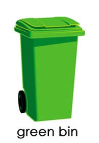 Image of a green household refuse bin