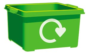 Green kerbside recycling box