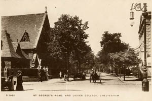 Historic photograph of St George's road showing the Ladies College and Royal Well Chapel. Taken around 1905. One of the Kingsway Real Photo series.
