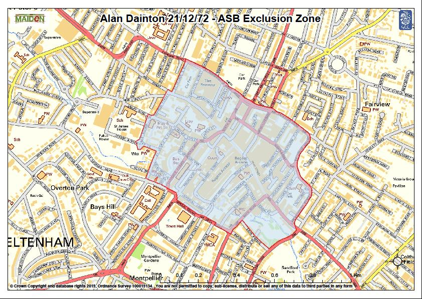 Map showing the exclusion zone for Alan Dainton's ASBI