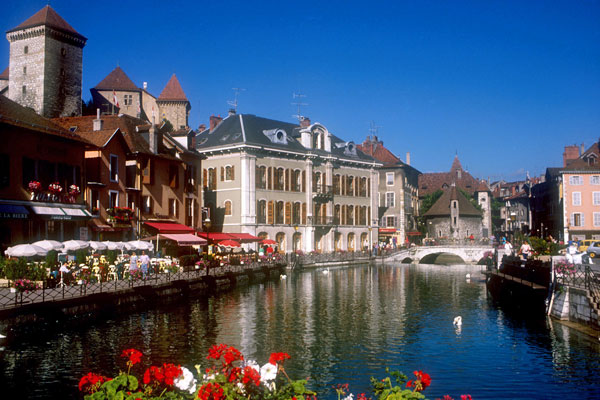 Twin town of Annecy showing canal and old town area
