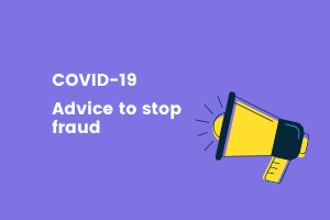 White text on purple background reads covid-19, advice to stop fraud