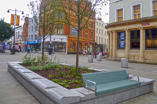 Planter installed as part of High Street improvements