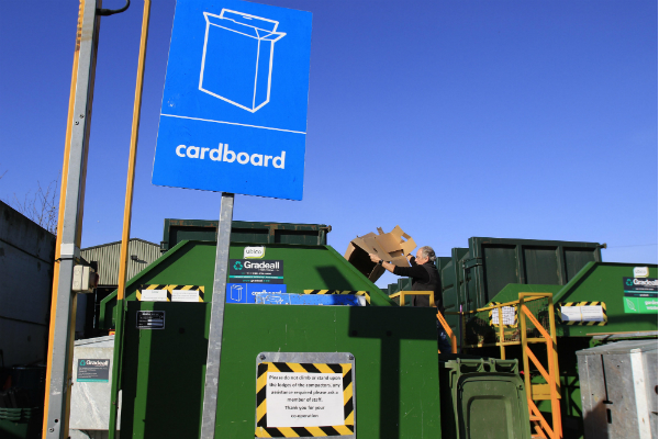 cardboard recycling skips at household recycling centre