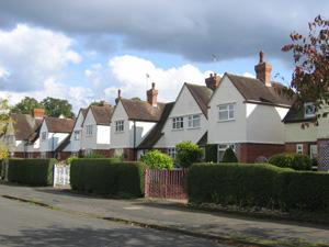 Red brick and rendered houses on Kipling Road