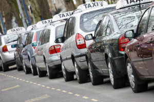 Row of Hackney taxis along the Promenade taxi rank