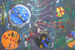 A picture of the planets for the Cheltenham Schools' Art by a pupil at Grangefield Primary School, inspired by The Planets