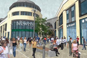 Artist's impression shows the entrance into the Brewery site following the North Place and Portland Street development