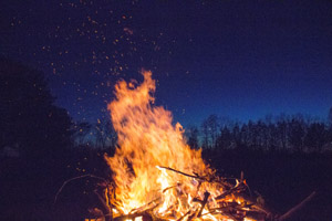 Tall orange flames of a bonfire against dark blue night sky and silhouttes of trees