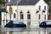 Cars stranded in a flood