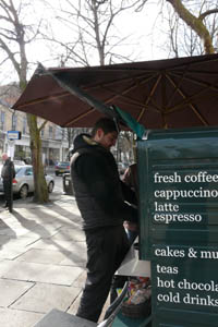 coffee seller with his van on the Promenade in Cheltenham