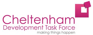 "Cheltenham Development Task Force logo. Dark pink lettering and grey tagline which reads ""making things happen"""