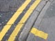 Double yellow lines on a road