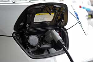 Electric vehicle plugged into charging point