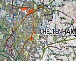 Map of Cheltenham pinned to a wall during 2007 floods