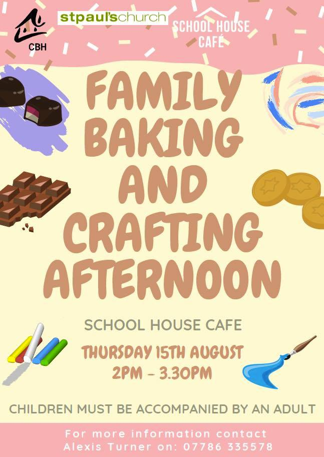 Family baking and crafting for August NCLB