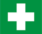 First aid symbol - white cross on a green background