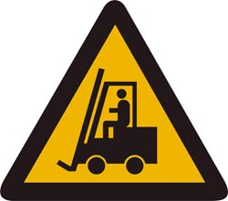 Triangular warning sign - black forklift truck on yellow background with black border