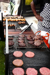 frying burgers at Cheltenham Food Festival