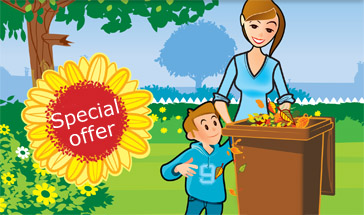 cartoon of woman and boy putting leaves into a brown garden waste bin. Text reads 'special offer'