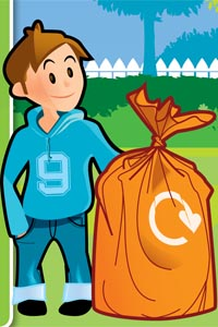 cartoon boy in blue hoody and jeans standing next to brown paper garden waste sack