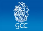Gloucestershire County Council crest, light blue on mid blue background