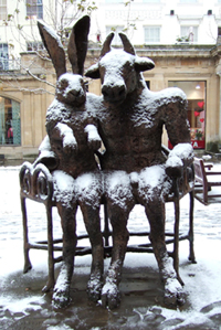 hare and minotaur statue