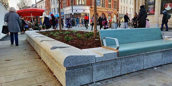 Granite planter installed at the newly repaved high street