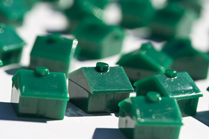 green plastic houses