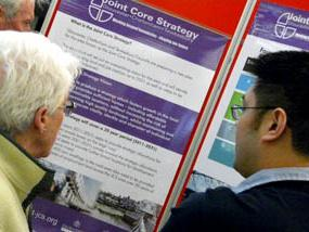 JCS officer talking to a member of the public at a Joint Core Strategy exhibition
