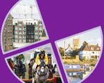Joint Core Strategy logo - images of Cheltenham, Gloucester and Tewkesbury on a purple background