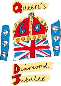 The Queen's Diamond Jubilee logo in red, white, blue and yellow - child's drawing of the Union Jack flag and a crown