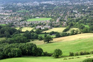 view of Cheltenham town from Leckhampton Hill