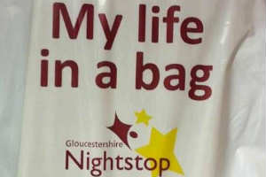A picture of the bag used for My Life in a Bag campaign by Gloucestershire Nightstop