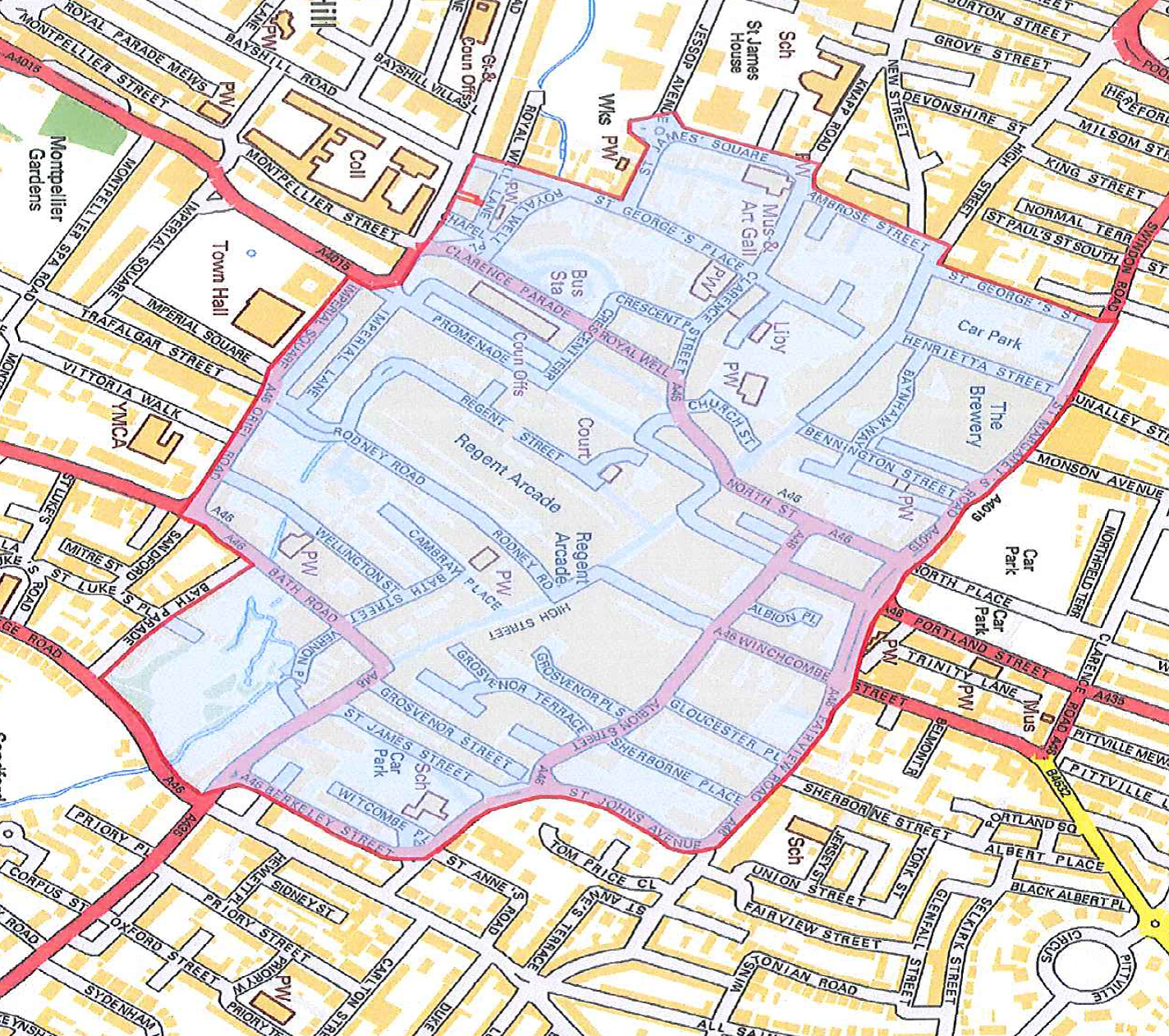 map of Cheltenham showing exclusion zone for A Dainton