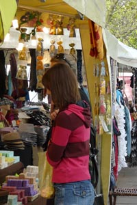 women browsing the stalls at Cheltenham's continental market
