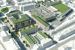 Aerial view artist's impression of a housing and commercial development - white modern building with green rooves