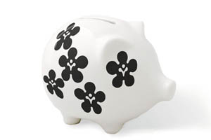 White piggy bank with black flower design