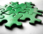 green jigsaw puzzle pieces