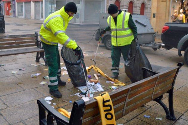 Ubico clearing up Cheltenham High Street after a race day