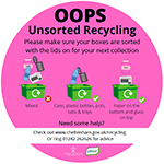 Pink bin sticker icon - please sort your recycling