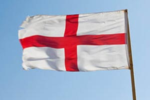 St George's flag with blue sky in the background