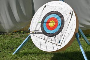 Archery target - arrows embedded in coloured rings on a white circular board