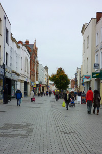 High street scene with shoppers