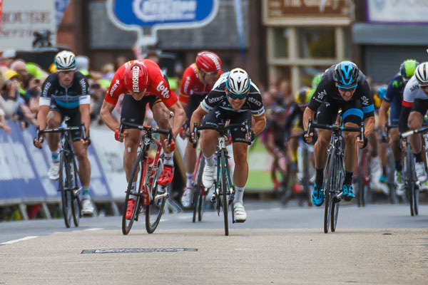 Cyclists in Tour of Britain sprint - credit Sweetspot