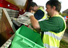 waste collectors sorting recycling at the kerbside