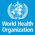 World Health Organization logo, white text and image of snake wrapped around a staff a staff over the top of a map of the world and surrounded by olive branches all on a blue background