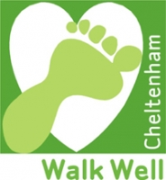 Walk Well Cheltenham logo. Mid green background overlaid with light green footprint on white heart.